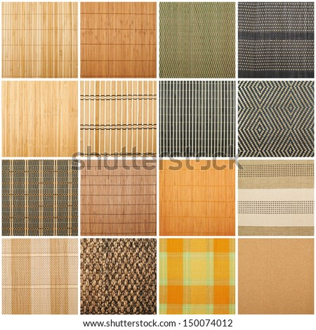 Serving mat texture as abstract background composition, top view above, set of sixteen versions