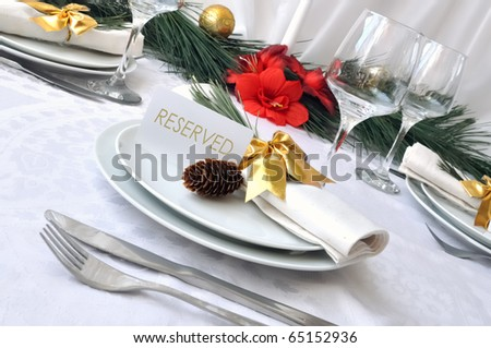 Serving New Year or Christmas table closeup