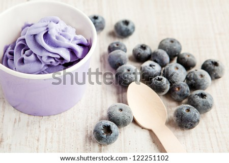 Serving of frozen creamy ice yogurt  with whole fresh blueberries and wooden spoon with selective focus
