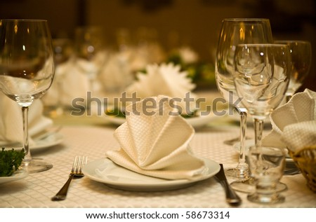 serving of table for a supper in a restaurant