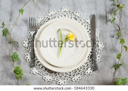 Serving plate, knife and fork on a table with a narcissist