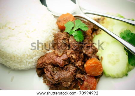 Sesame beef stew with rice healthy dish - stock photo