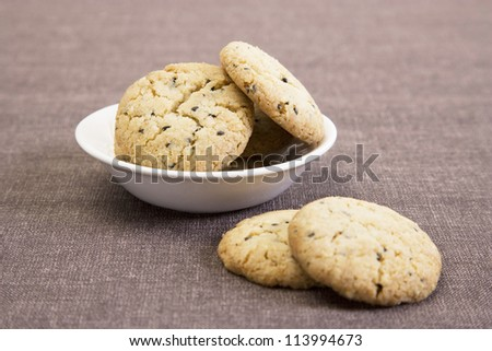 Sesame Seeds Biscuits in white bowl