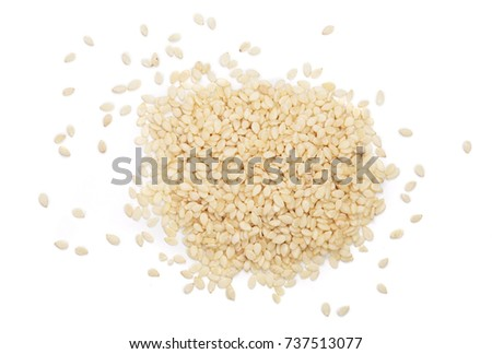 Sesame seeds isolated on white background top view