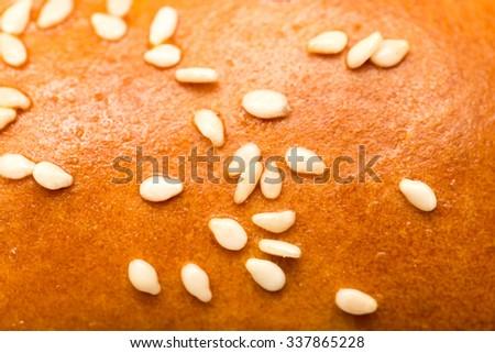 sesame seeds on a bun as a backdrop. macro #337865228