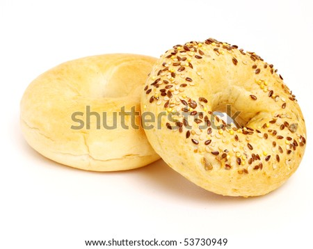 sesami and original bagel isolated object