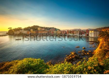 Sestri Levante silence bay or Baia del Silenzio sea harbor and beach view at sunset. Liguria, Italy Europe. Stock photo ©