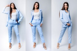set a businesswoman with a straight-cut brunette hair in a formal blue pantsuit and beige high-heeled shoes.