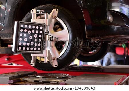 Set against the Center wheel, Wheel Aligner