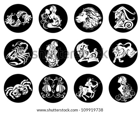 Set astrology sign. Illustrations of the twelve horoscope zodiac star signs