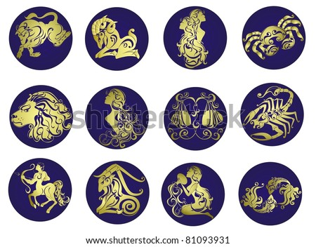 Set astrology sign. Twelve horoscope zodiac star icons