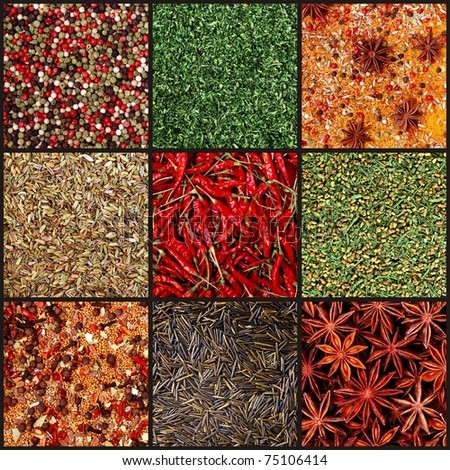 set background images of various milled spices