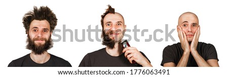 set bald and shaggy man before and after transplant hair and alopecia or haircut. Isolated on white background. Stock photo ©
