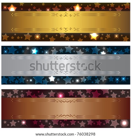 Set banners with bokeh stars and design elements. Similar image in vector format  in my portfolio.