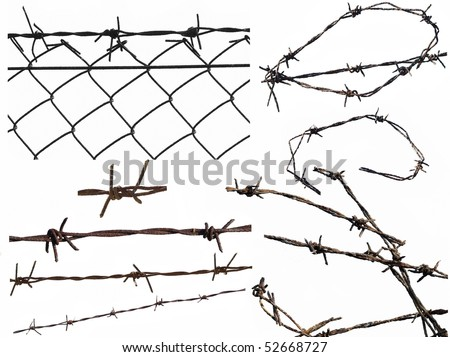 Set barbed wire fence protection isolated on white for background texture