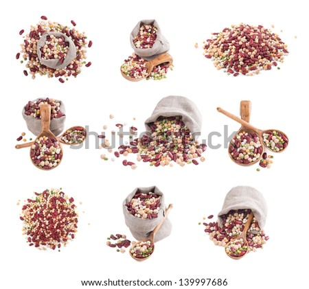Set beans on a white background