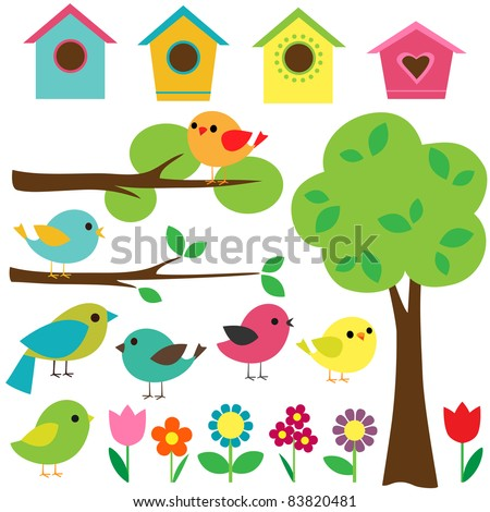 Set birds with birdhouses, trees and flowers. Raster version.