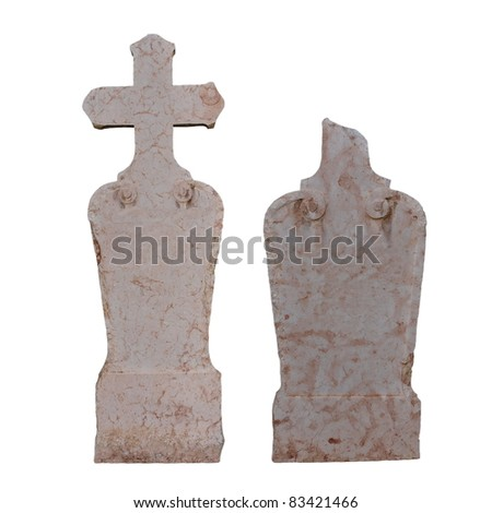 Set blank old marble graves (1828) isolated on white background, texture