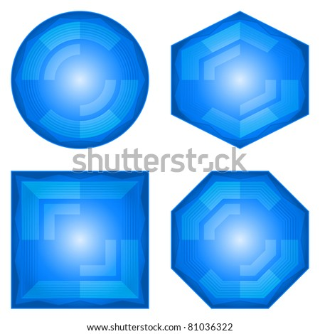 Set blue icons, computer buttons different forms