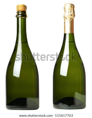 Set 2 bottles of wine with white and black labels isolated on white background