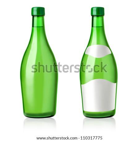 Set 2 bottles of wine with white labels isolated on white background.