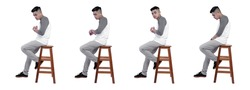 Set bundle of handsome man in gray and white raglan t-shirt are sitting sideways on chairs isolated white background