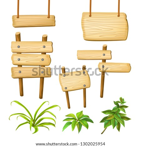 Set cartoon game panels in jungle style with space for text. Isolated wooden gui elements with tropical plants and boards. Illustration on white background. #1302025954