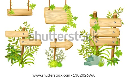 Set cartoon game panels in jungle style with space for text. Isolated wooden gui elements with tropical plants and boards. Illustration on white background. #1302026968