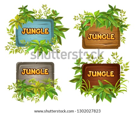 Set cartoon game panels in jungle style with space for text. Isolated wooden gui elements with tropical plants and boards. Illustration on white background. #1302027823
