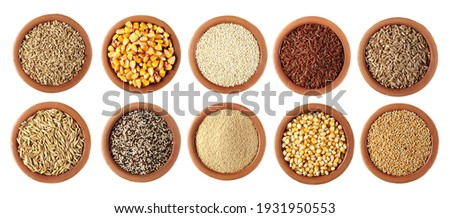 Set cereals, oats grain peel, corn grains, quinoa seeds, red wild rice, spelt, unpeeled oat, tri-color quinoa seeds, amaranth, corn for popcorn, millet in clay pot, isolated on white background