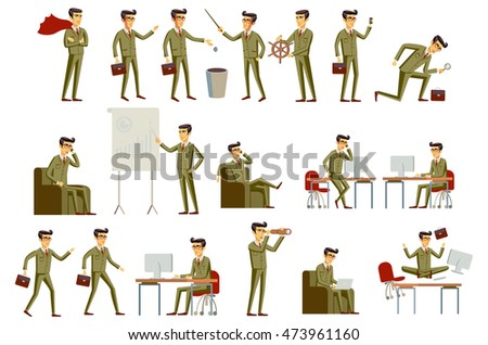 set character businessman in gray and brown suit, in different poses. art