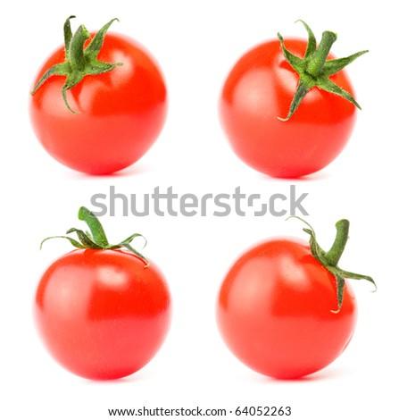 Set cherry tomato on white