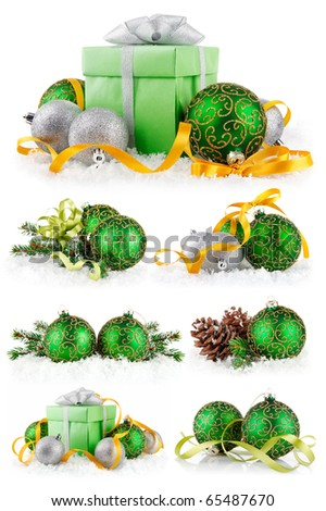 set christmas balls in snow isolated on white background