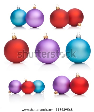 Set Christmas Baubles: Red, Purple, Blue - Isolated on white background