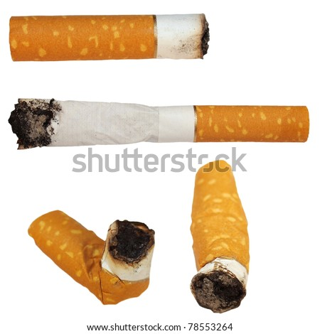 Set Cigarette butts isolated on white background, texture