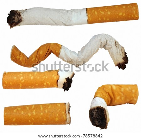Set Cigarette butts isolated on white background, texture (2), (High Definition)
