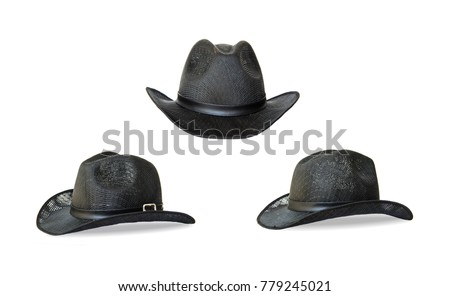 478d9065424 Set Classic Black Cowboy Hat Front and side. isolated on white background.