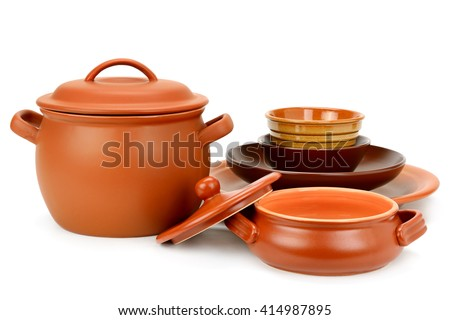 Set clay utensils isolated on white background #414987895