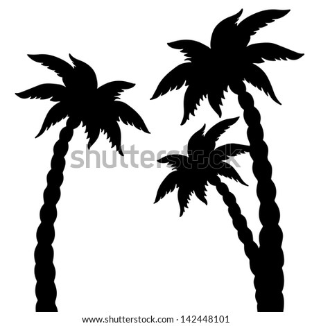 Set coconut palms trees silhouettes isolated on white background. Abstract design logo. Logotype art - raster version