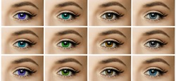set, collage, different types of color contact lenses. shades of green, brown, blue, gray eyes