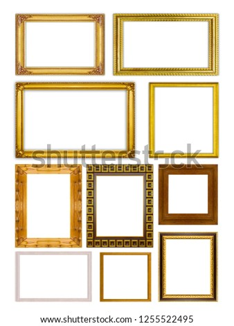 Set collection golden frame and wood frame isolated on white background
