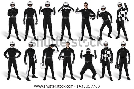 Set Collection of race driver with black overall saftey crash helmet and chequered checkered flag isolated on white background. motorsport car racing sport concept #1433059763