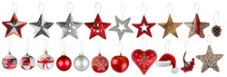 Set collection of red silver and white christmas tree decoration.  Traditional retro bauble star and heart shaped xmas ornaments objects  santa claus hat isolated background