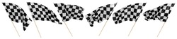 Set collection of waving black white chequered flag with wooden stick motorsport sport and racing concept isolated background