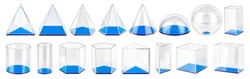 set collection row of various three dimensional acrylic glass solid volumes in various geometrical shapes. Education study physics math geometric concept isolated on white background.