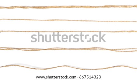 Set, collection strings isolated on white background texture