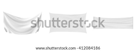 Set, collection white flags and banners pictograms isolated on white background. 3D illustration