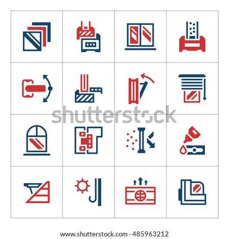 Set color icons of modern window isolated on white