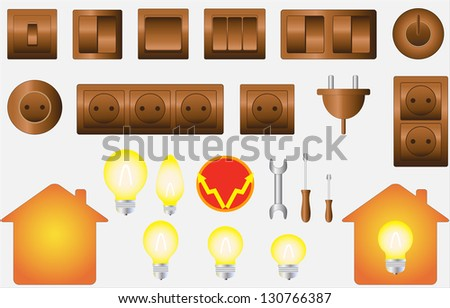 set colorful isolated objects of electrical equipment