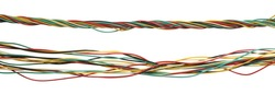 Set colorful telecommunication network cables, wires isolated on white background, with clipping path